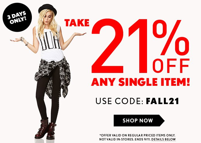 21% Off Any Item - Online Only! - Shop Now