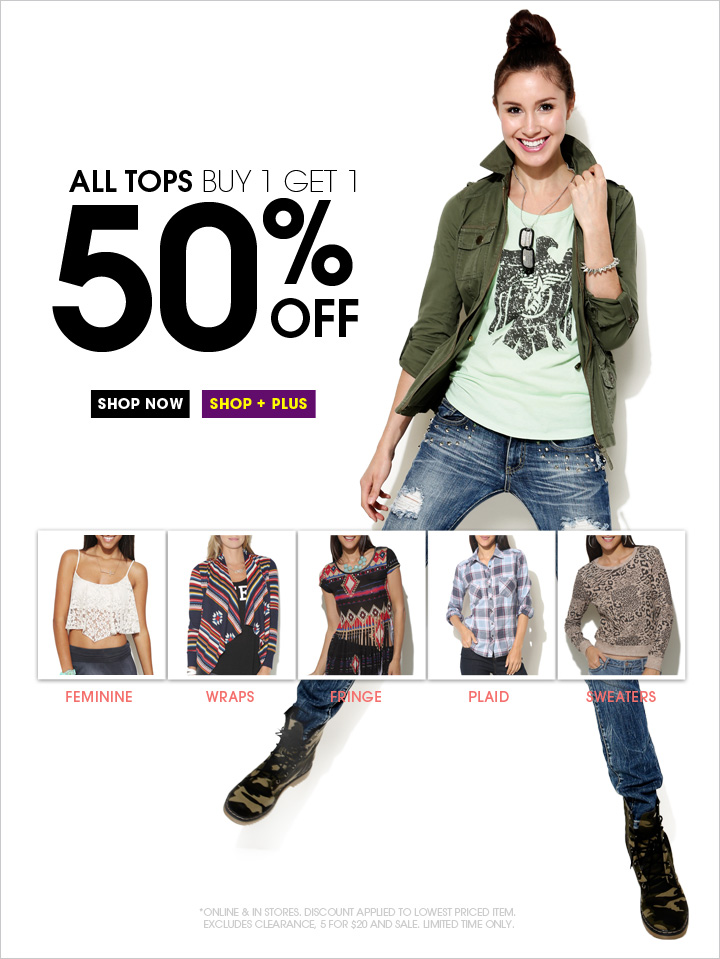 All Tops Buy 1 Get 1 50% OFF