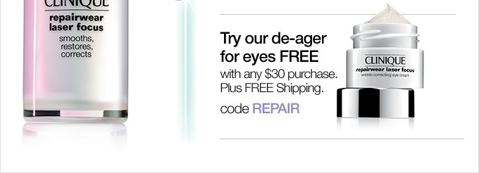 Try our de-ager for eyes FREE with any $30 purchase. Plus FREE Shipping. code REPAIR