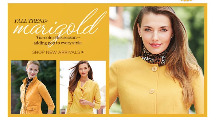 Fall trend marigold. The color this season - adding pop to every style. Shop new arrivals.