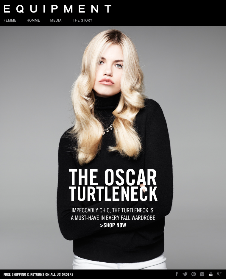 EQUIPMENT - THE OSCAR TURTLENECK - IMPECCABLY CHIC, THE TURTLENECK IS A MUST-HAVE IN EVERY FALL WARDROBE - SHOP NOW. FREE SHIPPING & RETURNS ON ALL US ORDERS.
