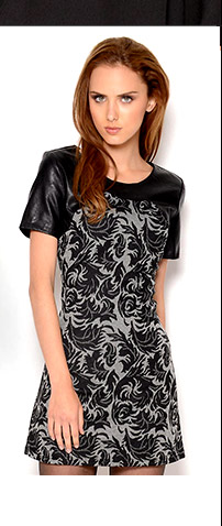 Very J Leather and Lace Print Dress