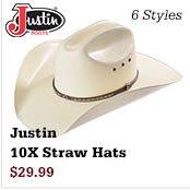 Justin 10X Straw Hats on Sale
