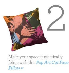 Pop Art Cat Face Pillow