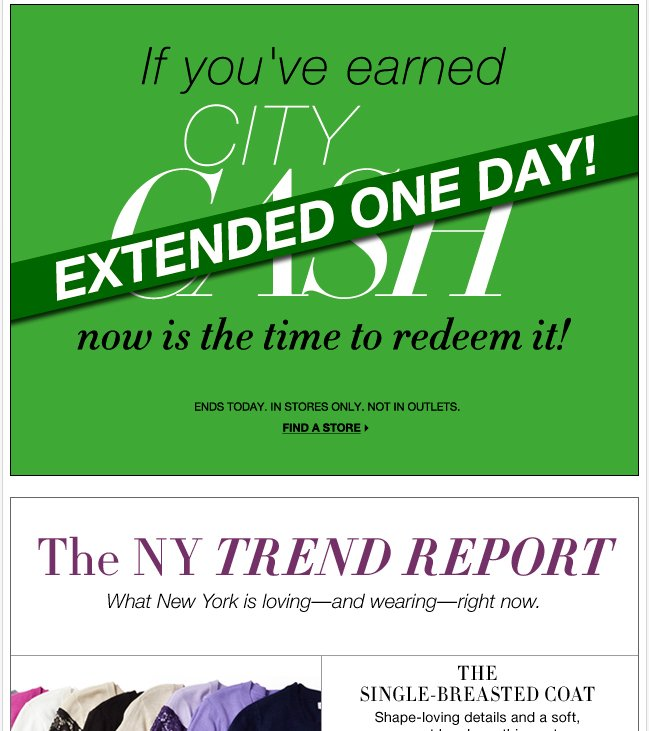 EXTENDED ONE DAY: Redeem your City Cash!