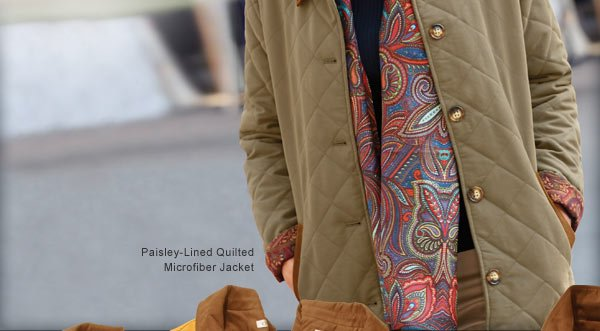 Paisley-Lined Quilted Microfiber Jacket