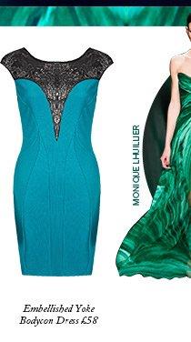 Embellished Yoke Bodycon Dress