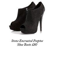 Stone Encrusted Peeptoe Shoe Boots