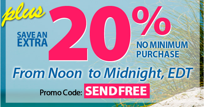Email Exclusive - save 20% + Free Shipping on orders of $35 or more with promo code SENDFREE