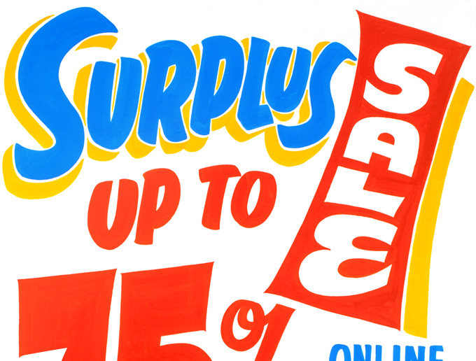 SURPLUS SALE. UP TO 75 PERCENT OFF.