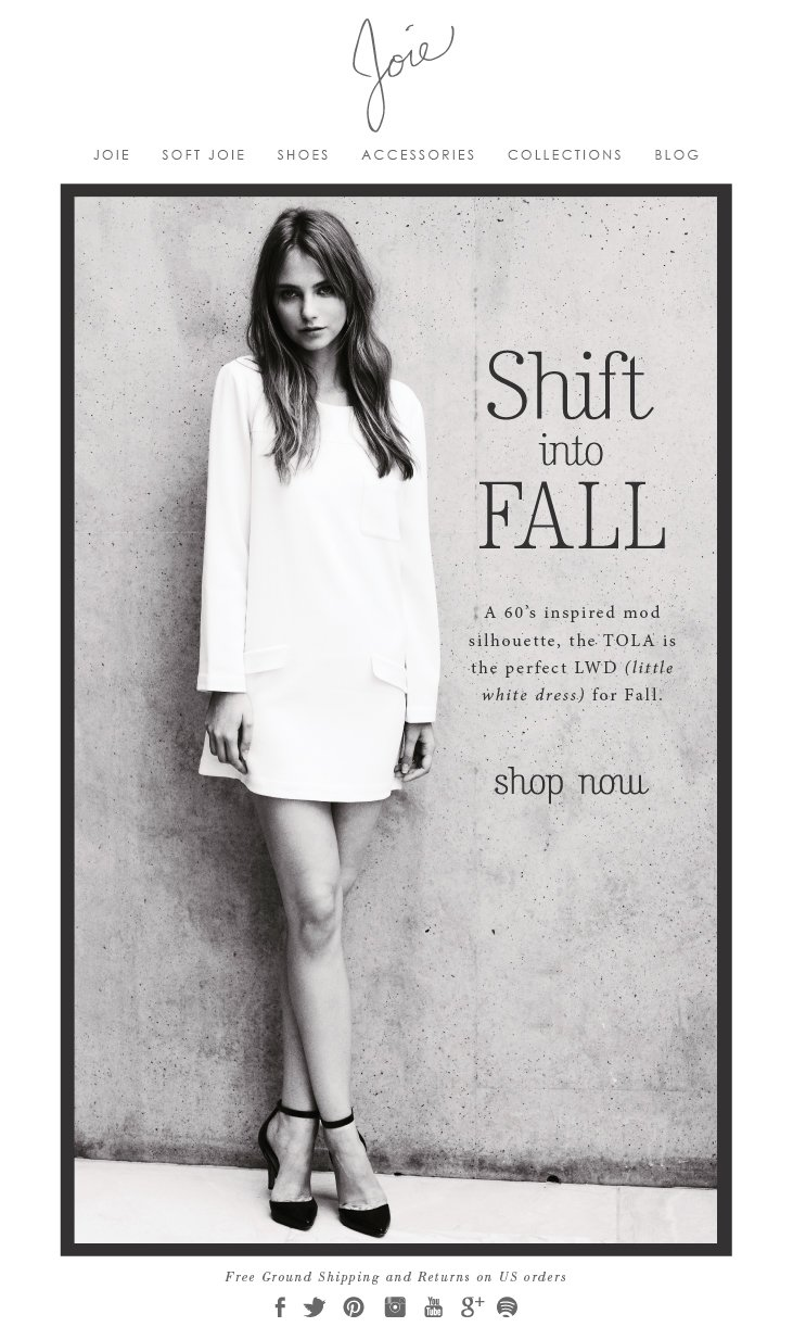 JOIE | Shift into FALL - A 60's inspired mod silhouette, the TOLA is the perfect LWD (little white dress) for Fall. Shop now.