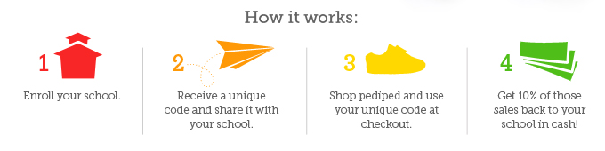 How it works: 1: Enroll your school.  2: Receive a unique code and share it with your school.  3. Shop pediped and use your unique code at checkout.  4. Get 10% of those sales back to your school in cash!