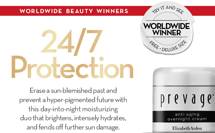WORLDWIDE BEAUTY WINNERS. 24/7 Protection. Erase a sun-blemished past and prevent a hyper-pigmented future with this day-into-night moisturizing duo that brightens, intensely hydrates, and fends off further sun damage.