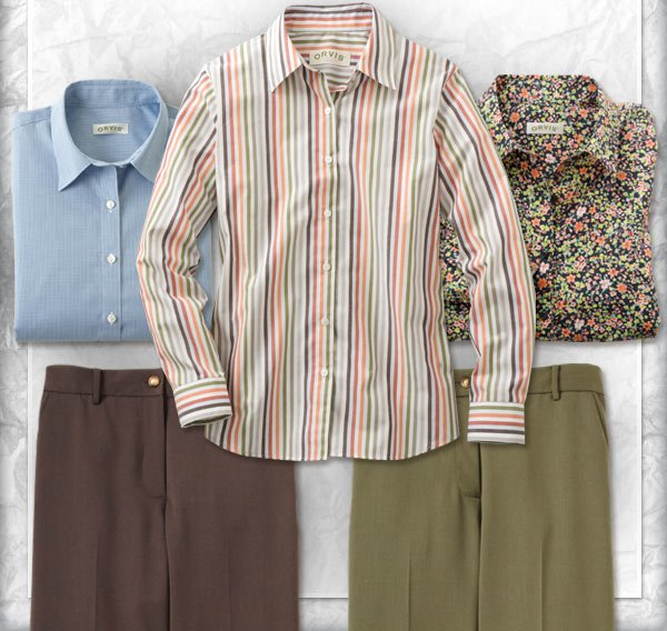 Stay crisp and fresh all day long in our smooth wrinkle-resistant shirts and trousers.