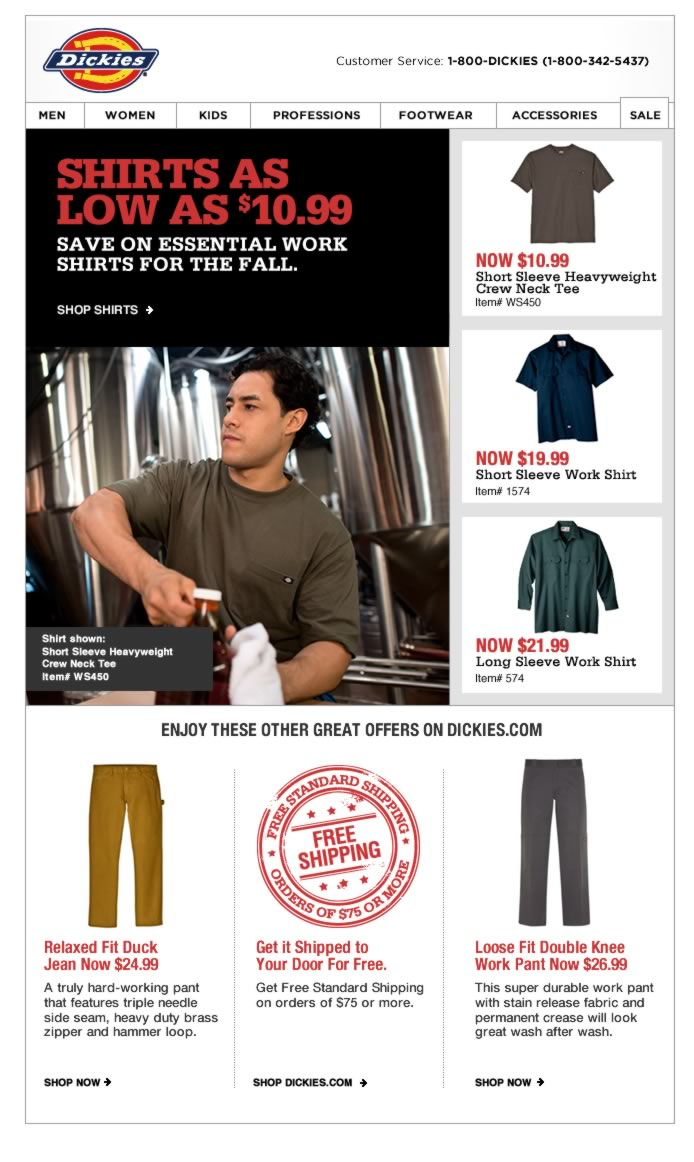 Shirts as low as $10.99 - Save on essential work shirts for the Fall.