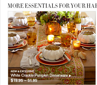 MORE ESSENTIALS FOR YOUR HARVEST TABLE - NEW u0026 EXCLUSIVE White Crackle Pumpkin Dinnerware $19.95 u2013  sc 1 st  Milled & Williams-Sonoma: Set a Harvest Table with Our Exclusive Pumpkin ...
