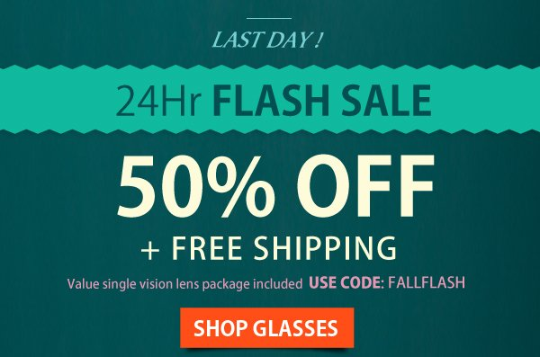 24 Hr Flash Sale: 50% Off + Free Shipping!
