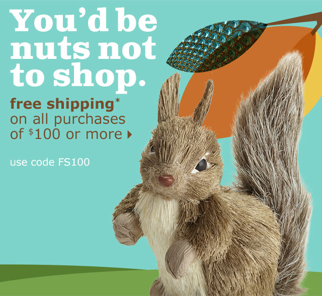 You'd be nuts not to shop. free shipping* on all purchases of $100 or more