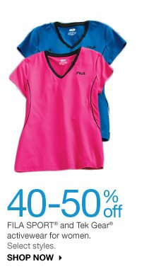 40-50% off FILA SPORT and Tek Gear activewear for women. Select styles. SHOP NOW