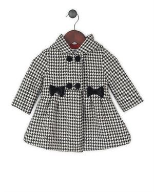 Joe-Ella Houndstooth Print 100% Wool Girl's Coat