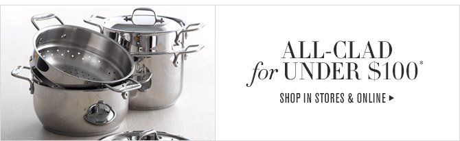 ALL-CLAD for UNDER $100* -- SHOP IN STORES & ONLINE