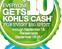 Everyone gets $10 Kohl's Cash® for every $50 spent through September 18. Redeemable September 19-29!