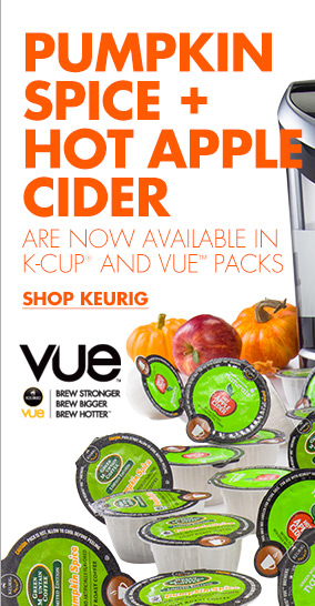 PUMPIKIN SPICE + HOT APPLE CIDER ARE NOW AVAILABLE IN K-CUP® AND VUE™ PACKS SHOP KEURIG