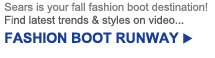 Sears is your fall fashion boot destination! Find the latest trends & styles on video... | FASHION BOOT RUNWAY