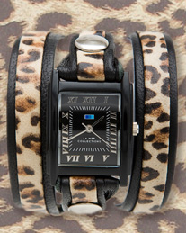 Black - Leopard Layer Wrap Watch