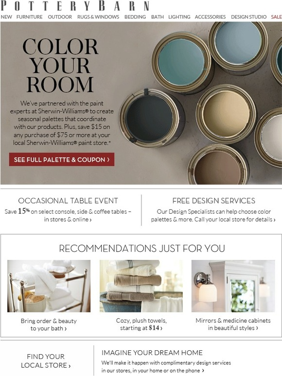 Pottery Barn Color Your Room With Our Sherwin Williams