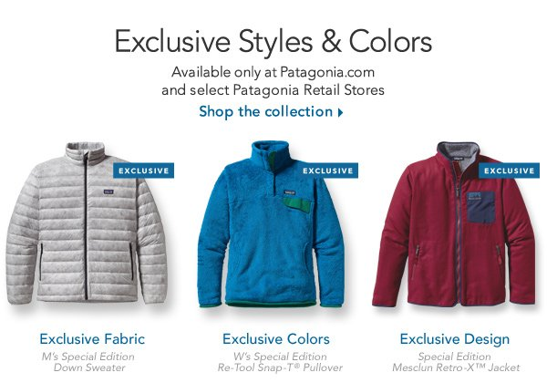 Exclusive Styles and Colors: Available only at Patagonia.com and select Patagonia Retail Stores. Shop the collection