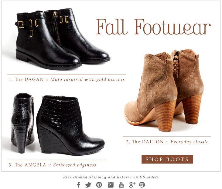 Fall Footwear - 1. The DAGAN :: Moto inspired with gold accents - 2. The DALTON :: Everyday classic - SHOP BOOTS