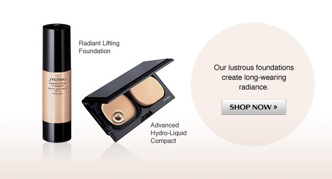 Our lustrous foundations create long-wearing radiance.
