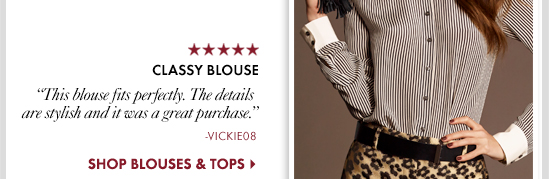 Classy Blouse This blouse fits perfectly. The details are stylish and it Was a great purchase.  SHOP BLOUSES & TOPS