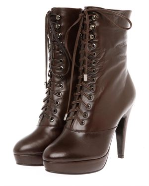 Starfly Leather Lace-Up Booties Made In France