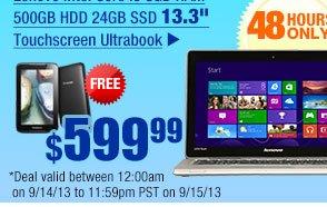 "$599.99 -- Lenovo Intel Core i5 8GB RAM 500GB HDD 24GB SSD 13.3"" Touchscreen Ultrabook"