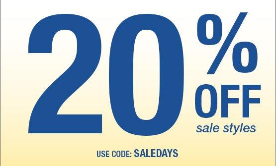 20% OFF SALE STYLES Use code: SALEDAYS