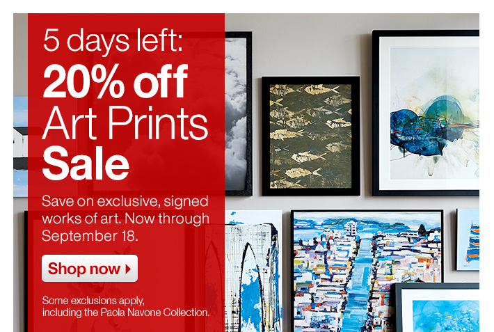 5 days only: 20% off Art Prints Sale