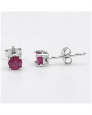 Sterling Silver Earrings with 0.70 CTW Rubies. Total item weight 0.6g