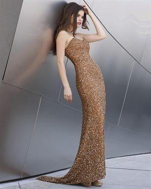 Shail K. Train Hem 100% Silk Sequin Gown