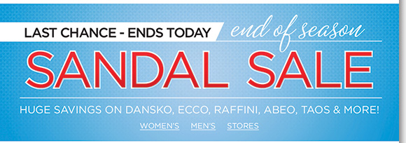 Today's the last day to save on your favorite sandals from ABEO, Raffini, ECCO, Taos and more of your favorite brands! Plus, shop over 135 new UGG® Australia boots, slippers and more! Find the best selection when you shop online and in-stores at The Walking Company.