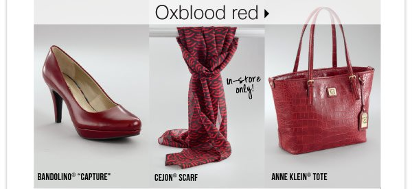 Oxblood red Bandolino® Capture Cejon7® scarf Anne Klein® tote