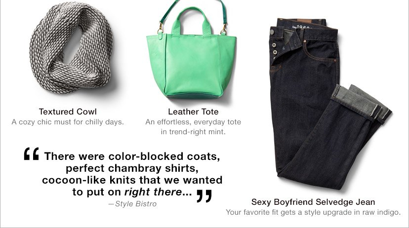 Textured Cowl | Leather Tote | Sexy Boyfriend Selvedge Jean