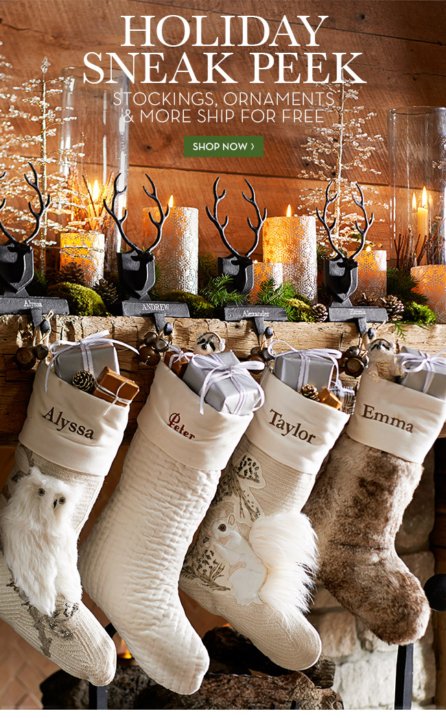 HOLIDAY SNEAK PEEK - STOCKINGS, ORNAMENTS & MORE SHIP FOR FREE - SHOP NOW