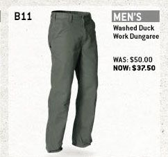 Men's Washed Duck Work Dungaree