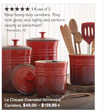 Le Creuset Enameled Stoneware Canisters, $45.00 - $129.95