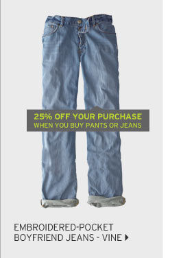 Embroidered-Pocket Boyfriend Jeans