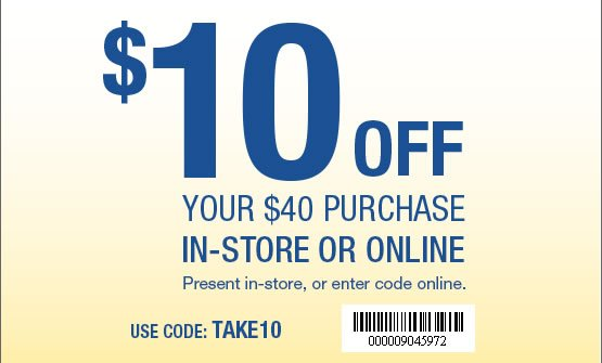 $10 Off your $40 purchase in-store or online. Use Code: TAKE10