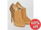 Floral Inset Faux Suede Shoe Boots