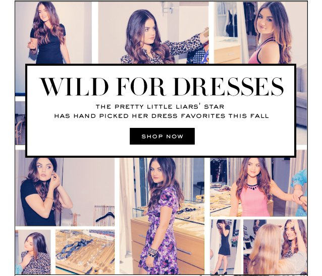 WILD FOR DRESSES.  SHOP NOW.